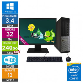 PC Dell Optiplex 9010 DT i7-3770 3.40GHz 32Go/240Go SSD Wifi W10 + Ecran 19