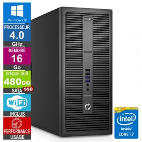 PC HP EliteDesk 800 G2 TWR i7-6700 4GHz 16Go/480Go SSD Wifi W10