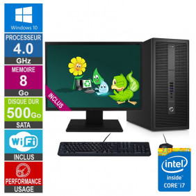 PC HP EliteDesk 800 G2 TWR i7-6700 4GHz 8Go/500Go Wifi W10 + Ecran 20