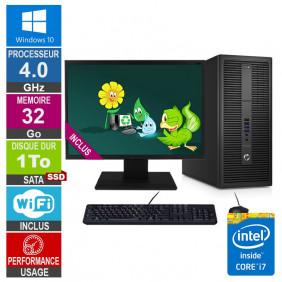 PC HP EliteDesk 800 G2 TWR i7-6700 4GHz 32Go/1To SSD Wifi W10 + Ecran 24