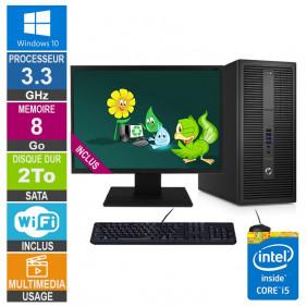 PC HP EliteDesk 800 G2 TWR i5-6400 3.30GHz 8Go/2To Wifi W10 + Ecran 19