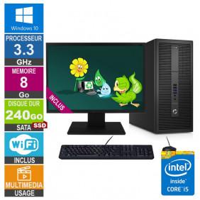 PC HP EliteDesk 800 G2 TWR i5-6400 3.30GHz 8Go/240Go SSD Wifi W10 + Ecran 20