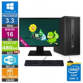 PC HP EliteDesk 800 G2 TWR i5-6400 3.30GHz 16Go/480Go SSD Wifi W10 + Ecran 20
