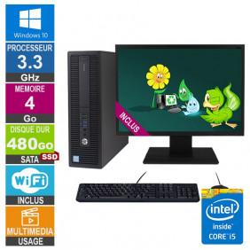PC HP ProDesk 600 G2 SFF i5-6400 3.30GHz 4Go/480Go SSD Wifi W10 + Ecran 20