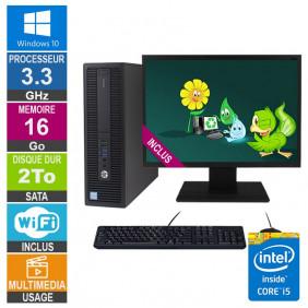 PC HP ProDesk 600 G2 SFF i5-6400 3.30GHz 16Go/2To Wifi W10 + Ecran 22