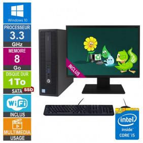 PC HP ProDesk 600 G2 SFF i5-6400 3.30GHz 8Go/1To SSD Wifi W10 + Ecran 24
