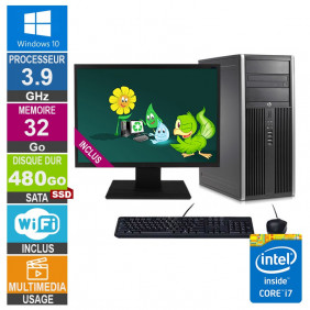 PC HP Elite 8300 CMT i7-3770 3.90GHz 32Go/480Go SSD Wifi W10 + Ecran 20