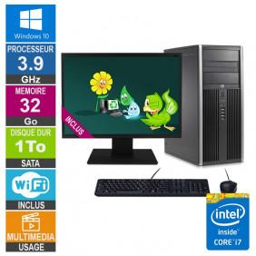 PC HP Elite 8300 CMT i7-3770 3.90GHz 32Go/1To Wifi W10 + Ecran 22