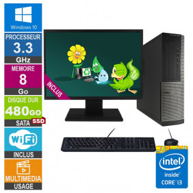 PC Dell Optiplex 3010 DT i3-3220 3.30GHz 8Go/480Go SSD Wifi W10 + Ecran 24