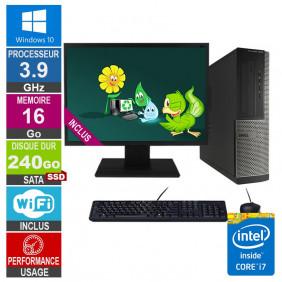 PC Dell Optiplex 3010 DT i7-3770 3.90GHz 16Go/240Go SSD Wifi W10 + Ecran 19