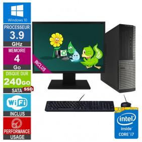 PC Dell Optiplex 3010 DT i7-3770 3.90GHz 4Go/240Go SSD Wifi W10 + Ecran 20