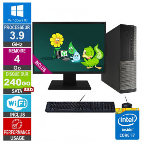 PC Dell Optiplex 3010 DT i7-3770 3.90GHz 4Go/240Go SSD Wifi W10 + Ecran 22