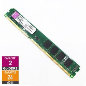 Barrette Mémoire 2Go RAM DDR3 Kingston KVR1066D3N7/2G DIMM PC3-8500U 2Rx8 LP