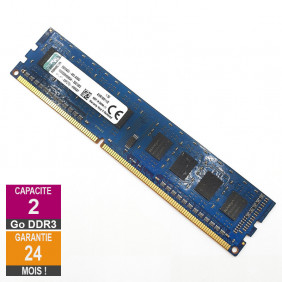 Barrette Mémoire 2Go RAM DDR3 Kingston KVR16N11/2 DIMM PC3-12800U 1Rx8