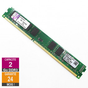 Barrette Mémoire 2Go RAM DDR3 Kingston KAC-VR313/2G DIMM PC3-10600U 2Rx8 LP