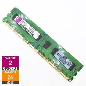 Barrette Mémoire 2Go RAM DDR3 Kingston HP497157-C01-ELDW DIMM PC3-10600U 2Rx8