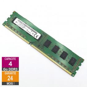 Barrette Mémoire 4Go RAM DDR3 Micron MT16JTF51264AZ-1G6K1 DIMM PC3-12800U 2Rx8