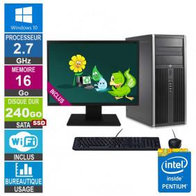 PC HP Elite 8200 CMT G630 2.70GHz 16Go/240Go SSD Wifi W10 + Ecran 19