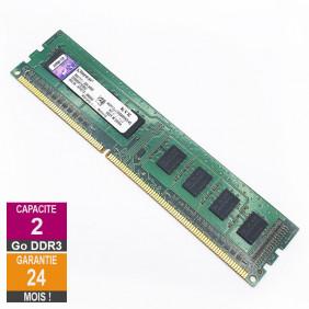 Barrette Mémoire 2Go RAM DDR3 Kingston KVR1333D3S8N9/2G DIMM PC3-10600U 1Rx8