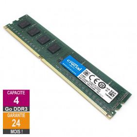 Barrette Mémoire 4Go RAM DDR3 Crucial CT51264BD160B.C16FPD2 DIMM PC3L-12800U 2Rx8