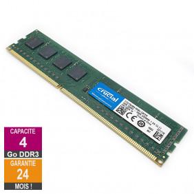 Barrette Mémoire 4Go RAM DDR3 Crucial CT51264BA160BJ.C8FER DIMM PC3-12800U 1Rx8