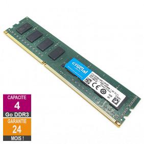 Barrette Mémoire 4Go RAM DDR3 Crucial CT51264BA160B.C16FKR DIMM PC3-12800U 2Rx8