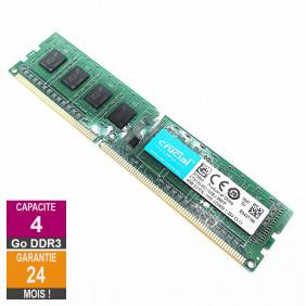 Barrette Mémoire 4Go RAM DDR3 Crucial CT51264BD160BJ.M8FP DIMM PC3L-12800U 1Rx8