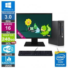PC HP 800 G1 USDT G3220 3GHz 16Go/240Go SSD Wifi W10 + Ecran 22