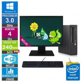 PC HP 800 G1 USDT G3220 3GHz 4Go/240Go SSD Wifi W10 + Ecran 24