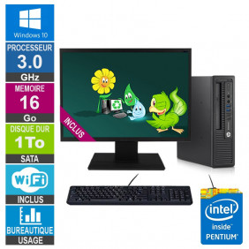 PC HP 800 G1 USDT G3220 3GHz 16Go/1To Wifi W10 + Ecran 24