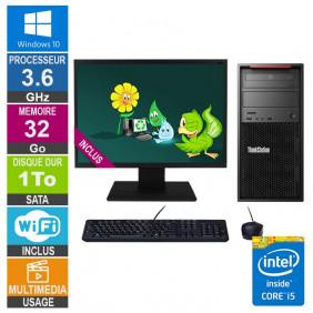 PC LENOVO ThinkStation P300 30AH i5-4570 3.60GHz 32Go/1To Wifi W10 + Ecran 20