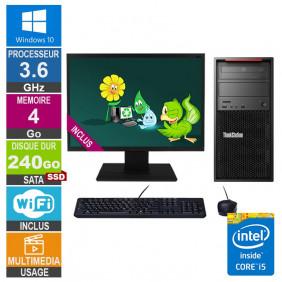 PC LENOVO ThinkStation P300 30AH i5-4570 3.60GHz 4Go/240Go SSD Wifi W10 + Ecran 22