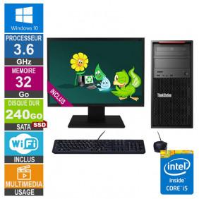 PC LENOVO ThinkStation P300 30AH i5-4570 3.60GHz 32Go/240Go SSD Wifi W10 + Ecran 24