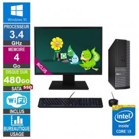 PC Dell Optiplex 3020 SFF i3-4130 3.40GHz 4Go/480Go SSD Wifi W10 + Ecran 19