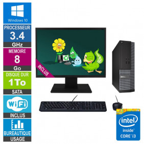PC Dell Optiplex 3020 SFF i3-4130 3.40GHz 8Go/1To Wifi W10 + Ecran 20