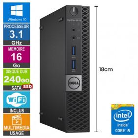Mini PC Dell 3040 Micro i5-6500T 3.10GHz 16Go/240Go SSD Wifi W10