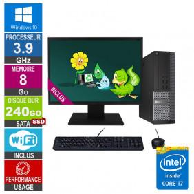 PC Dell 7020 SFF i7-4770 3.90GHz 8Go/240Go SSD Wifi W10 + Ecran 22