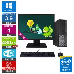 PC Dell 7020 SFF i7-4770 3.90GHz 4Go/480Go SSD Wifi W10 + Ecran 24