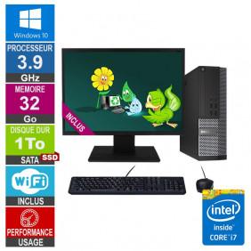 PC Dell 7020 SFF i7-4770 3.90GHz 32Go/1To SSD Wifi W10 + Ecran 24