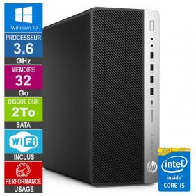 PC HP EliteDesk 800 G3 TWR i5-6500 3.60GHz 32Go/2To Wifi W10
