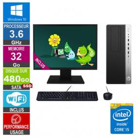 PC HP EliteDesk 800 G3 TWR i5-6500 3.60GHz 32Go/480Go SSD Wifi W10 + Ecran 20