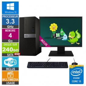 PC Dell Optiplex 5040 MT i5-6400 3.30GHz 4Go/240Go SSD Wifi W10 + Ecran 19