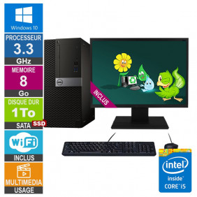 PC Dell Optiplex 5040 MT i5-6400 3.30GHz 8Go/1To SSD Wifi W10 + Ecran 22