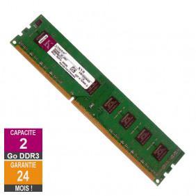 Barrette Mémoire 2Go RAM DDR3 Kingston KVR1333D3N9/2G PC3-10600U 1333MHz 2Rx8