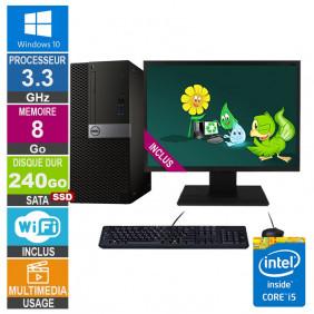 PC Dell Optiplex 7040 MT i5-6400 3.30GHz 8Go/240Go SSD Wifi W10 + Ecran 20