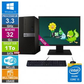 PC Dell Optiplex 7040 MT i5-6400 3.30GHz 32Go/1To SSD Wifi W10 + Ecran 20
