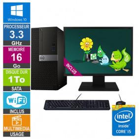 PC Dell Optiplex 7040 MT i5-6400 3.30GHz 16Go/1To Wifi W10 + Ecran 22