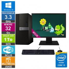 PC Dell Optiplex 7040 MT i5-6400 3.30GHz 32Go/1To Wifi W10 + Ecran 22