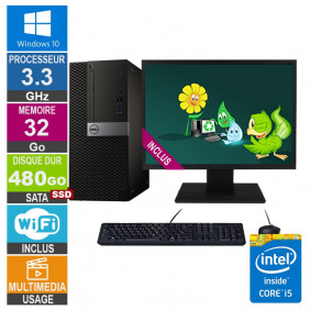 PC Dell Optiplex 7040 MT i5-6400 3.30GHz 32Go/480Go SSD Wifi W10 + Ecran 22