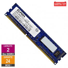 Barrette Mémoire 2Go RAM DDR3 Elpida EBJ21EE8BDFA-DJ-F PC3-10600E 1333MHz 2Rx8